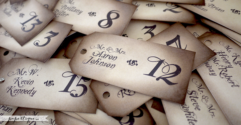 Victorian Damask Escort Cards