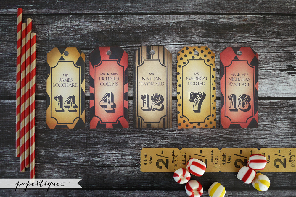 Papertique - Carnival Escort Cards