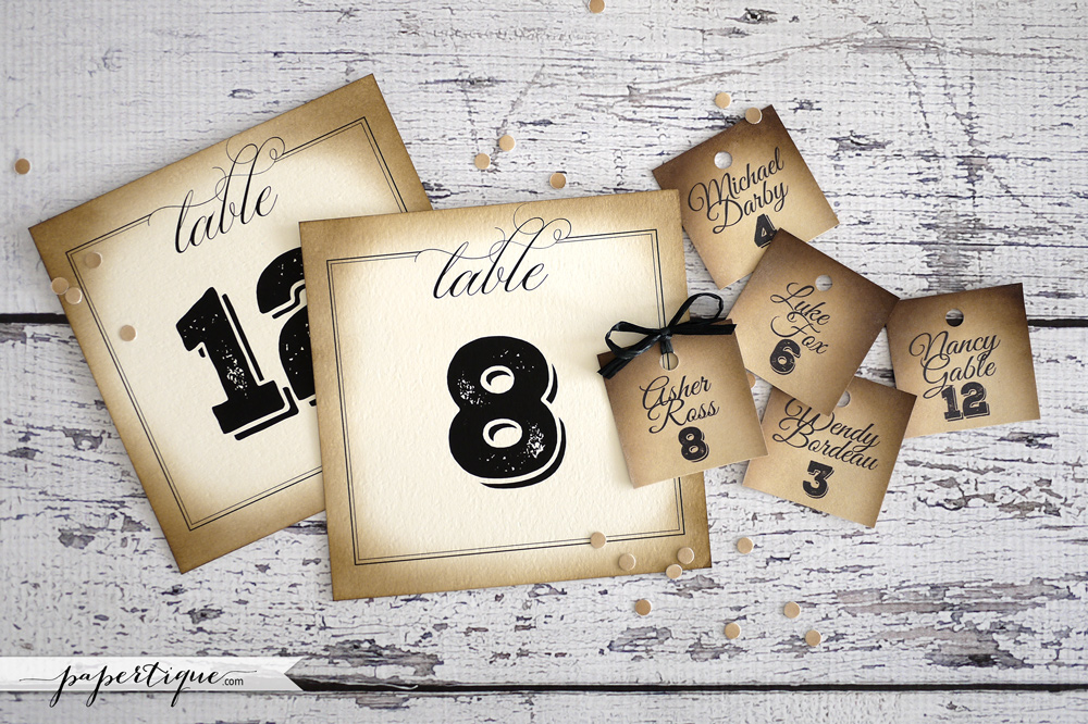 Papertique - Vintage Table Numbers & Mini Tags