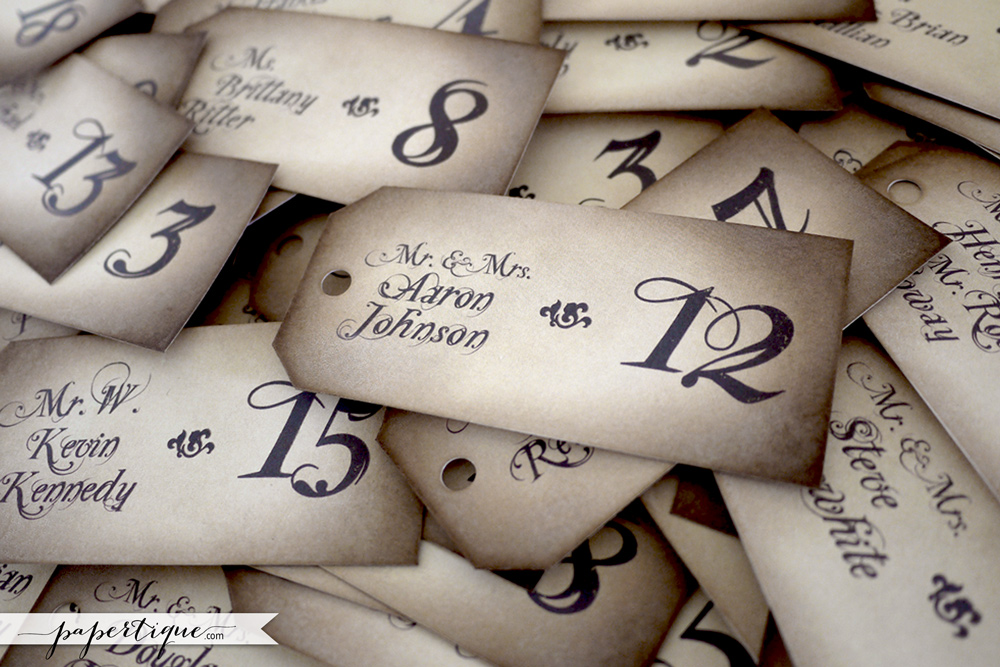 Papertique - Victorian Damask Escort Card Tags